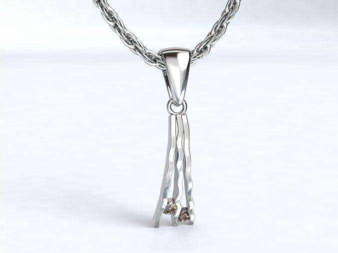 Stříbrný přívěsek říčka se zirkony 112601