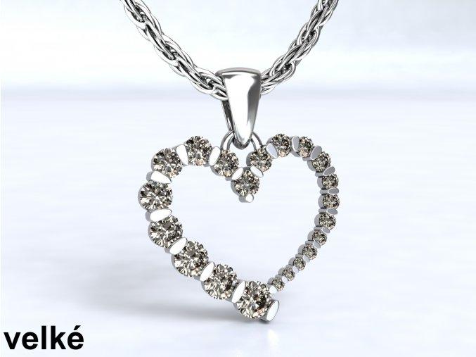 Stříbrný přívěsek srdce se zirkony velké 113001
