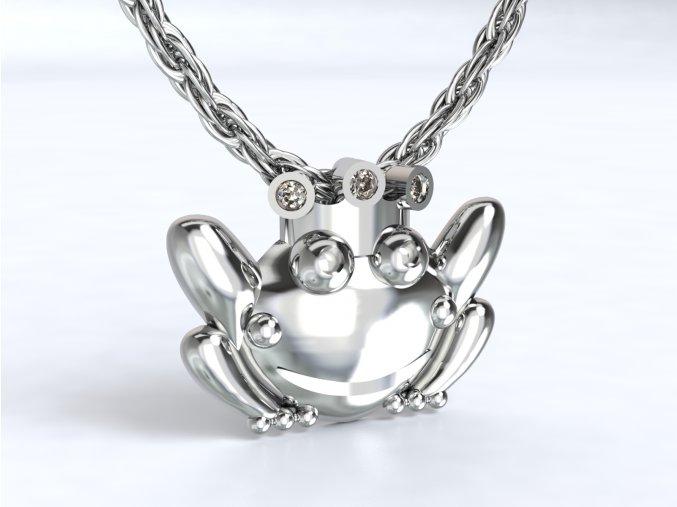 Přívěsek žabka královna stříbrný