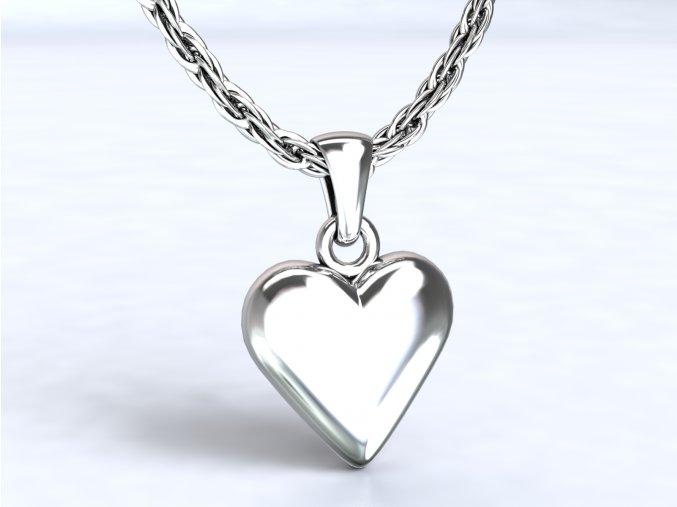Stříbrný přívěsek srdce vypouklé