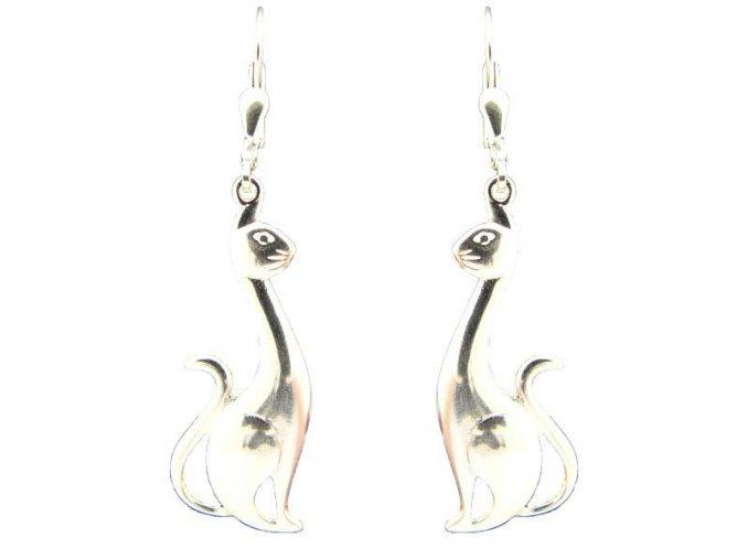 Stříbrné náušnice kočky 204901