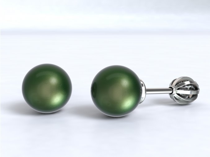 Stříbrné šroubky perla 210901