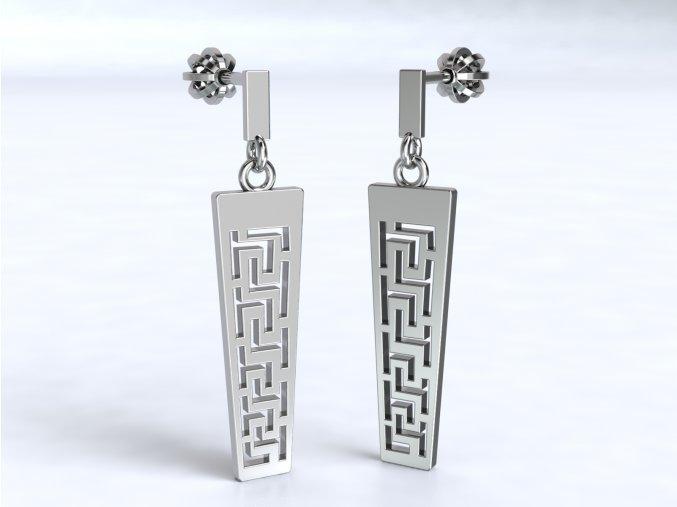 Náušnice šroubky řecký vzor delší stříbrné