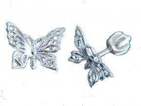 Náušnice šroubky motýl filigránové stříbrné