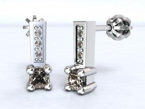 Náušnice šroubky čtverec 3 zrnka stříbrné 215001