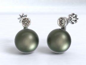 Stříbrné šroubky perla se zirkonem
