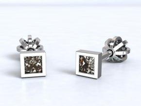 Stříbrné šroubky čtverec zirkon malý