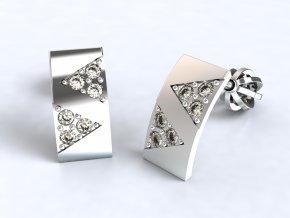 Stříbrné šroubky 2 trojúhelníky se zirkony 217901