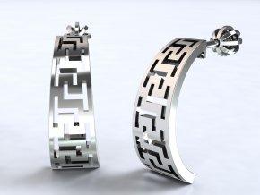 Náušnice řecký vzor na šroubek stříbrné