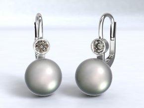 Stříbrné náušnice perla se zirkonem