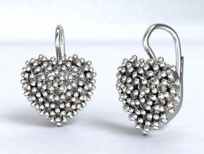 Ag925 náušnice srdce ježek