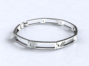 Náramek lichoběžníky stříbrný 061001
