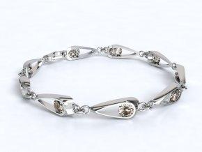Stříbrný náramek kapka se zirkony 061901