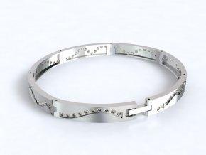 Stříbrný náramek vlnovka se zirkony 062101