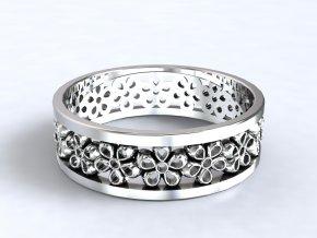 Stříbrný prsten kytičky 306201