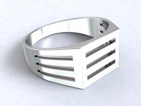 Pánský stříbrný prsten mřížka 307001