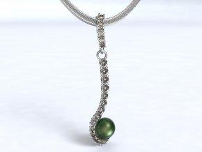 Au 585/1000 Zlatý přívěsek s kameny a perlou