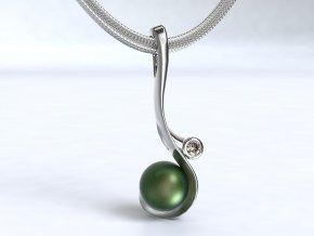 Zlatý přívěsek s kamenem a perlou