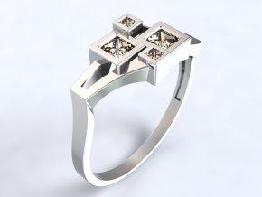 Au 585/1000 Zlatý prsten s kameny