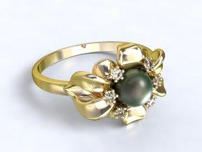Zlatý prsten květina s perlou 1302701
