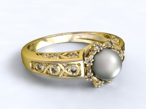 Zlatý prsten s kameny okolo perly 1303001