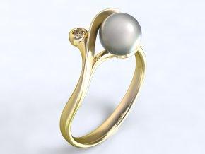 Zlatý prsten s kameny a perlou 1303101