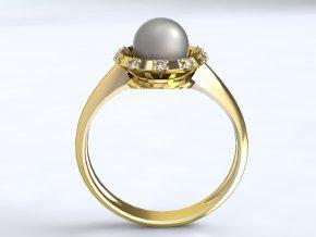 Zlatý prsten s kameny okolo perly 1304001
