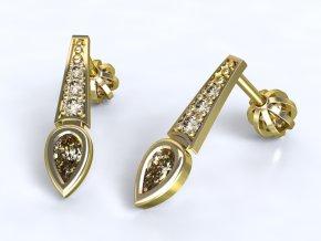 Zlaté náušnice s otočenou kapkou 1200601