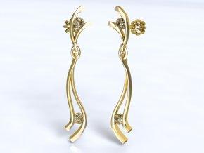 Zlaté náušnice šroubek s kameny 1201101