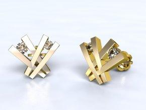 Zlaté náušnice šroubek s kameny 1201401