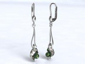Zlaté náušnice klapka s kameny a perlou