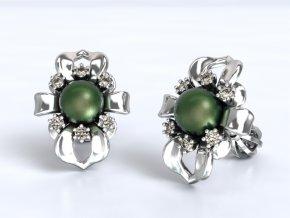 Au 585/1000 Zlaté náušnice šroubek s kameny a perlou