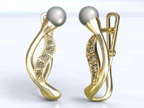 Zlaté náušnice poupě s perlou 1203101