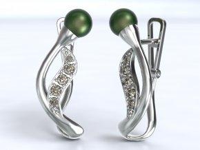 Au 585/1000 Zlaté náušnice patent s kameny a perlou