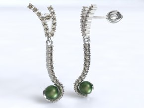 Zlaté náušnice s kameny a perlou 1203201