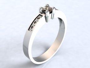 Stříbrný prsten čtverec se zrnky