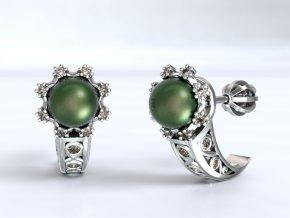 Zlaté náušnice šroubek s kameny a perlou 1203601