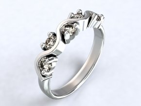 Ag925 prsten vlnovka s pěti zirkony