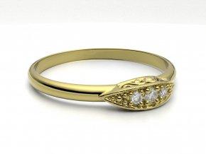 Zlatý zásnubní prsten do soupravy se snubním 2303001