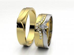 Skládací snubní prsteny žluté zlato 3300502