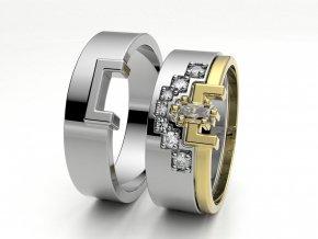Skládací snubní prsteny bílé zlato 3302101