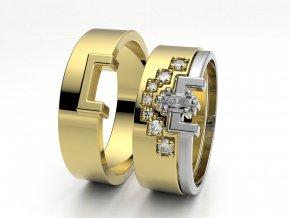 Skládací snubní prsteny žluté zlato 3302102