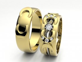 Skládací snubní prsteny žluté zlato 3302202