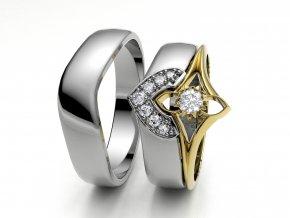 Skládací snubní prsteny bílé zlato 3302301