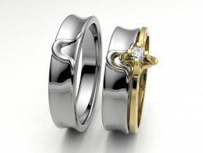 Bílé Au585 snubní prsteny 3302701
