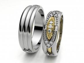 Bílé Au585 snubní prsteny 3303001