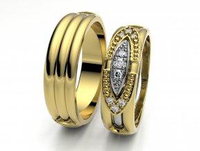 Žluté Au585 snubní prsteny 3303002