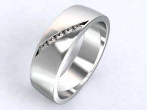 Stříbrný prsten zirkony šikmo 313501