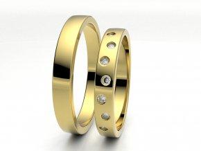Žluté Au585 snubní prsteny 3304202