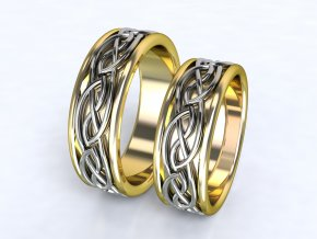 Au585 snubní prsteny dvojbarevné žlutobílé 3305103